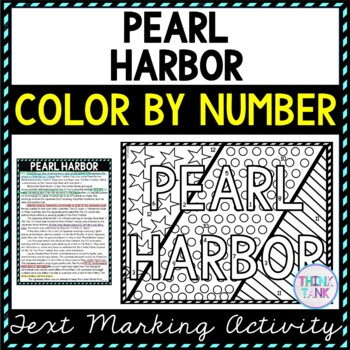 Pearl Harbor Color by Number, Reading Passage and Text Marking