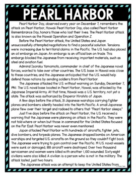 Pearl Harbor DIGITAL Reading Passage and Questions - Self Grading