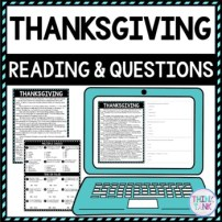Thanksgiving DIGITAL Reading Passage & Questions - Self Grading