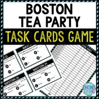 Boston Tea Party Task Cards Review Game | Revolutionary War Activity