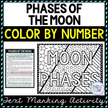 Phases of the Moon Color by Number, Reading Passage and Text Marking