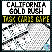 California Gold Rush Task Cards Review Game | Westward Expansion