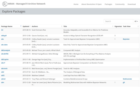 Glimpse at the MRAN Package Explorer.