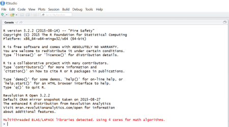 RStudio startup information after installing RRO and MKL.