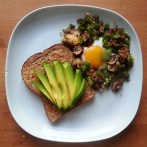 Friday Dinner - fried egg with green bell pepper, mushroms, shallot and garlic - whole grain and seed toast with avocado