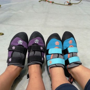 Angie's new climbing shoes