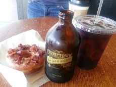 Sidecar Donuts - maple bacon donut, Stumptown cold brew