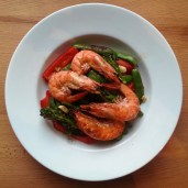 oven baked shrimp (head on) with sugar snap peas, broccoli rabe, and red pepper