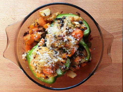 Wednesday DINNER - Stuffed (with quinoa, roasted chicken and veggies) green pepper