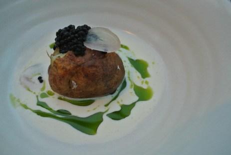 "Baked potato, smoked roe, soft cheese - 2011 Verdejo ""Cien x Cien"", Finca la Colina, Rueda, Spain"