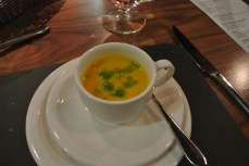Amuse Bouche - Carrot soup with wasabi peas
