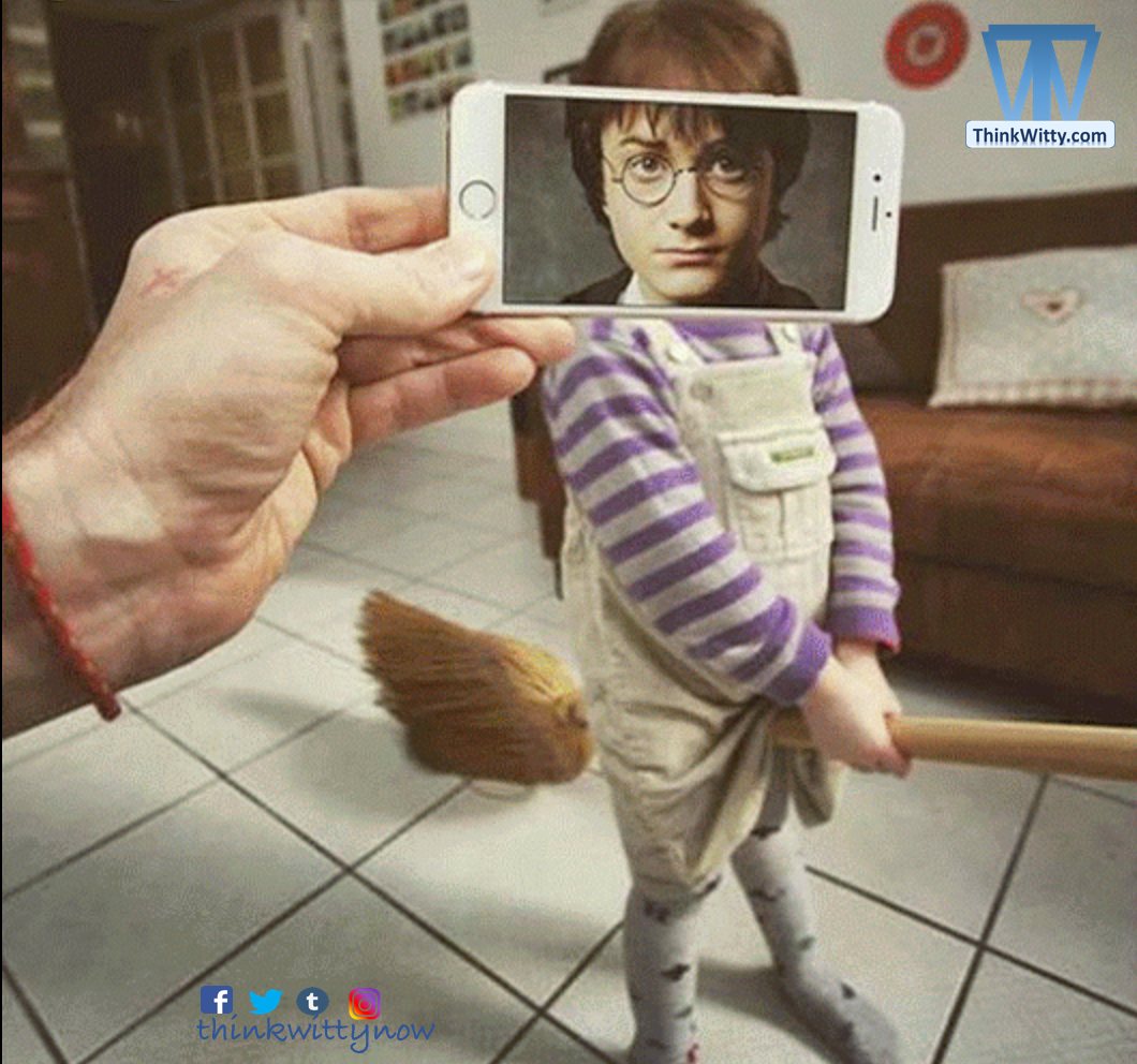 Harry Potter Trying his broom in the childhood :) AR before AR Innovation - thinkwitty.com - 47.41