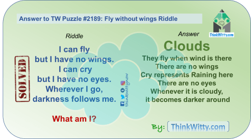 Answer to Puzzle 2189 thinkwitty.com - Fly without wings Riddle - Presence of mind