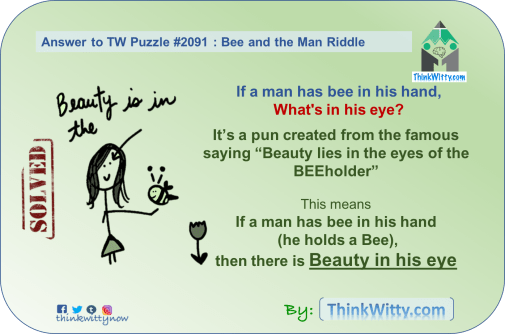 Answer to the Puzzle 2091 thinkwitty.com - Bee and the Man Riddle - Lateral Thinking