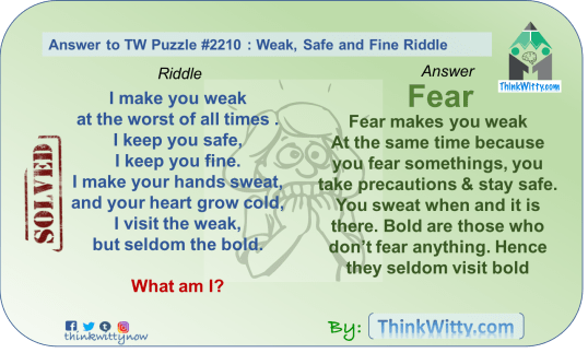 Answer to the Puzzle 2210 thinkwitty.com - Weak Safe and FIne Riddle - Presence of mind