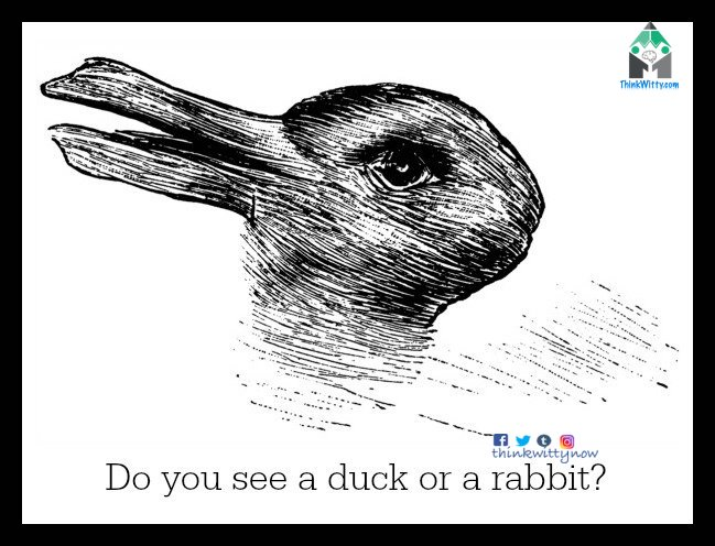 Optical Illusion thinkwitty.com - Do you see a duck or a Rabbit Illusion