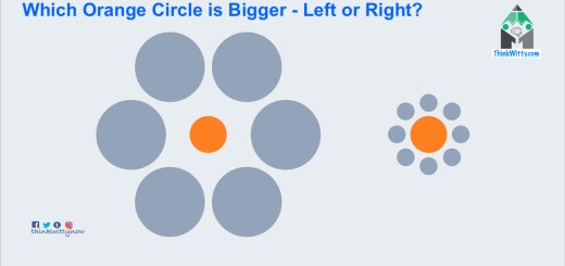 Optical Illusion thinkwitty.com - Which Circle is the Bigger Illusion - While they are the same
