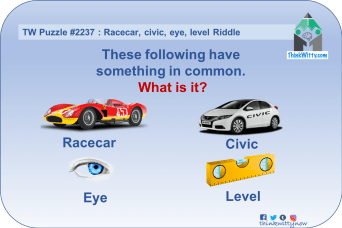 Puzzle 2237 thinkwitty.com - Racecar, civic, eye, level Riddle - Presence of mind
