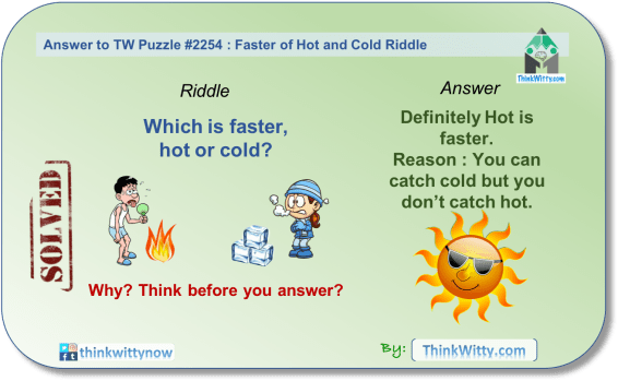 Answer to the Puzzle 2254 thinkwitty.com - Faster of Hot and Cold Riddle - Presence of mind