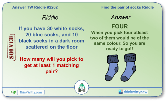 Answer to the Puzzle 2262 thinkwitty.com - Find the pair of Socks Riddle