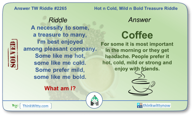 Answer to the Puzzle 2265 thinkwitty.com - Hot n Cold, Mild n Bold Treasure Riddle