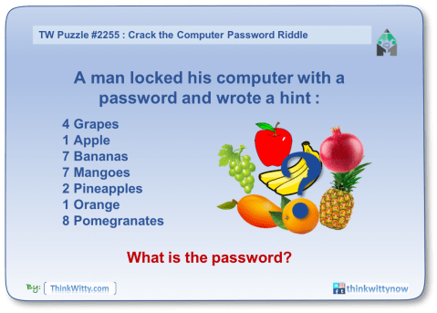 Puzzle 2255 thinkwitty.com - Crack the Computer Password Riddle - Presence of mind