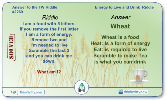 Answer to the Puzzle 2269 thinkwitty.com - Energy to Live and Drink Riddle