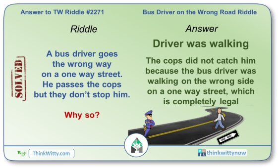 Answer to the Puzzle 2271 thinkwitty.com - Bus Driver on the Wrong Road Riddle