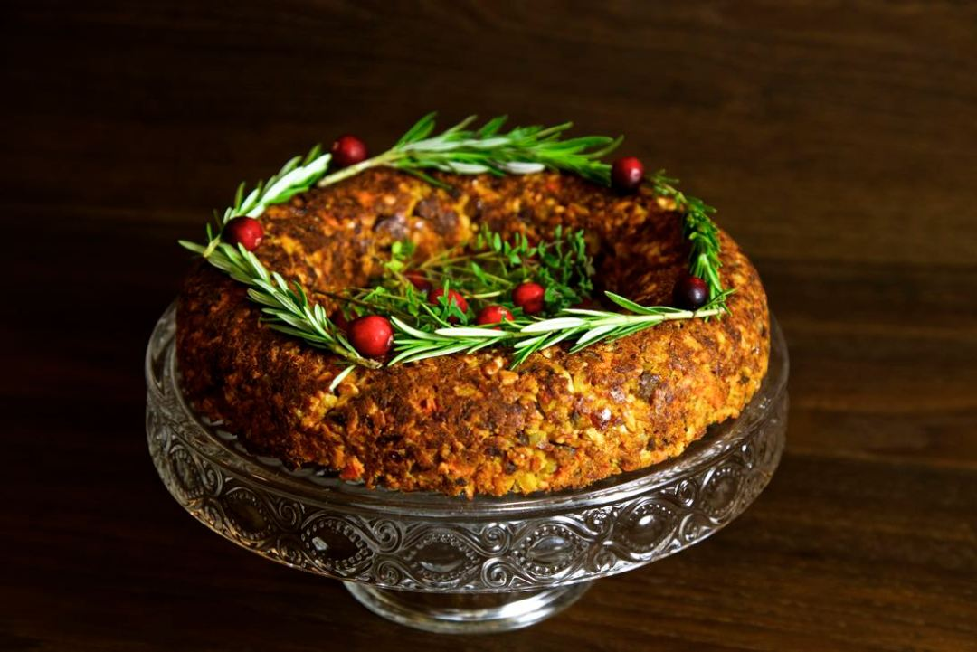 vegan Christmas roast - a moist, savoury nut roast filled with chestnuts, cashews and butternut squash