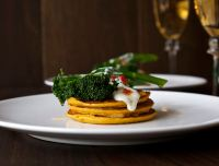 Pumpkin Pancakes with Chilli Fried Tenderstem Broccoli and Cream Goat's Cheese Sauce.