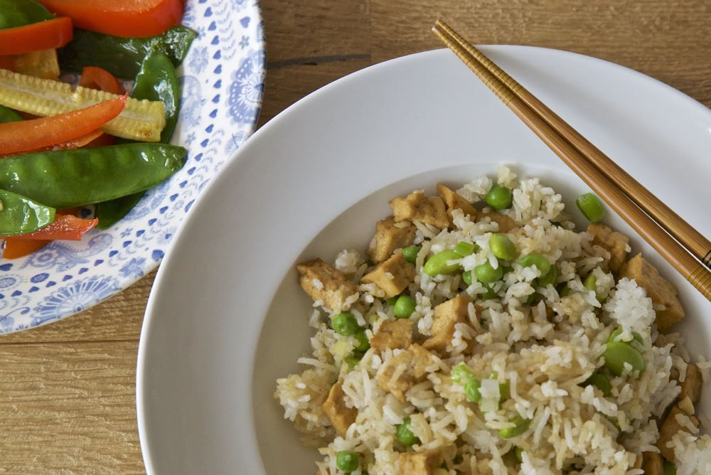 Easy Vegan Fried Rice - Easy Tofu Fried Rice with Stir fried vegetables in garlic, ginger and tamari