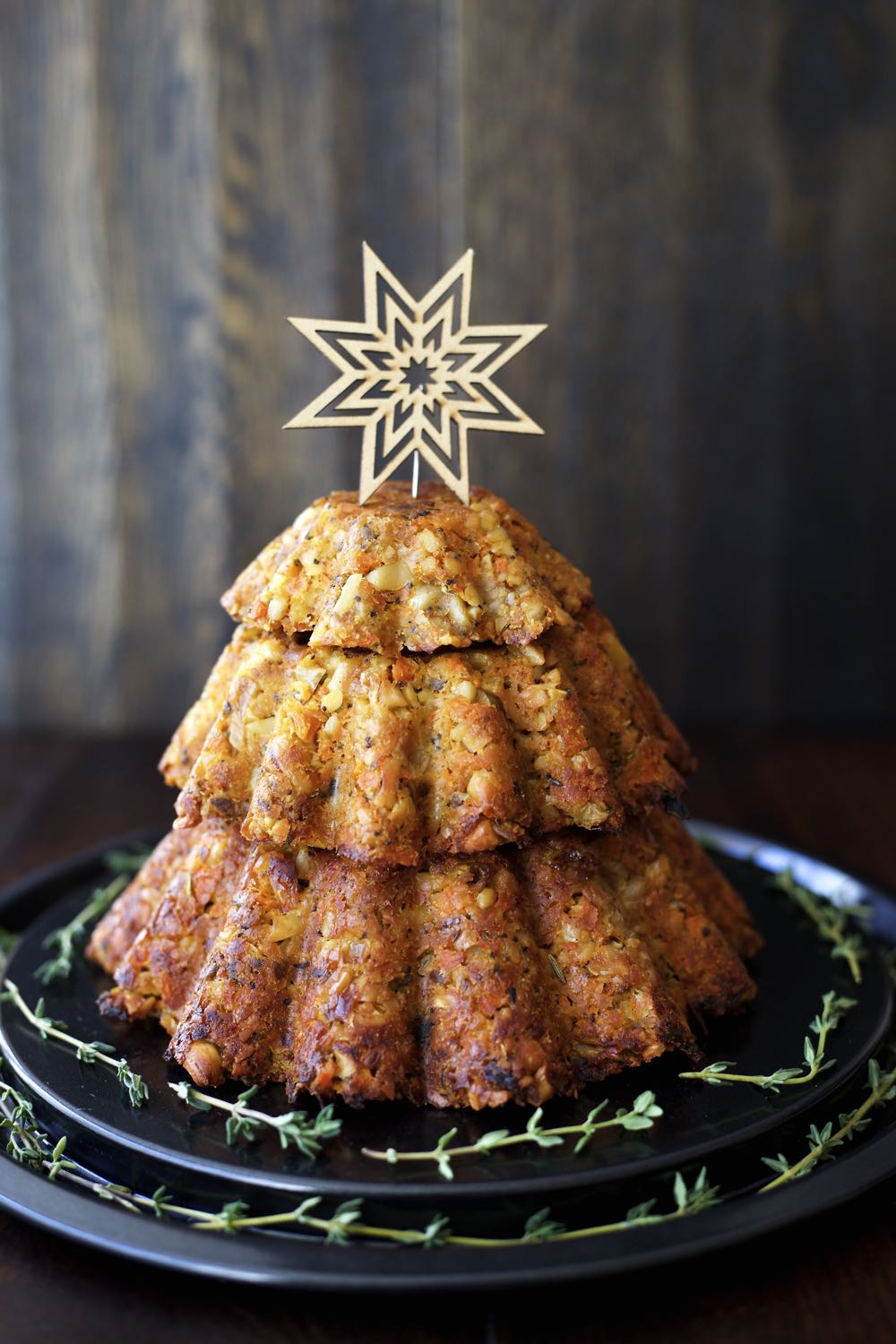 Vegan Cashew Nut Roast presented in a Christmas tree shape and perfect for your Vegan Christmas Dinner!