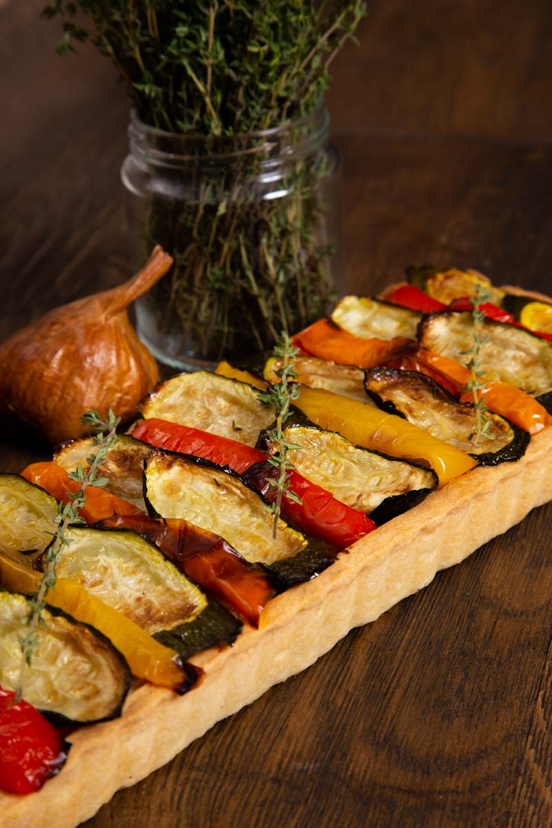 vegan roast vegetable tart