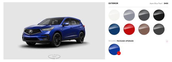 2019 Acura RDX exterior colors