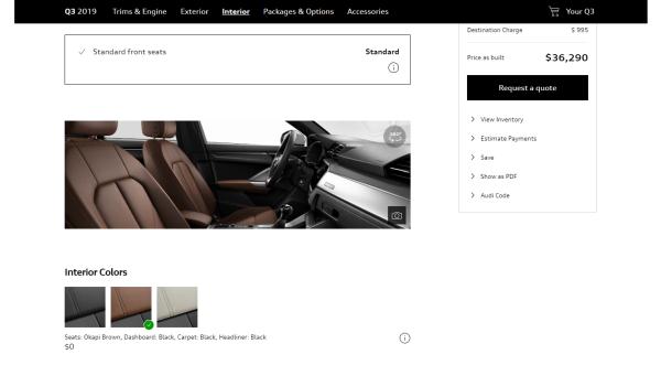 Okapu Brown Audi Q3 interior