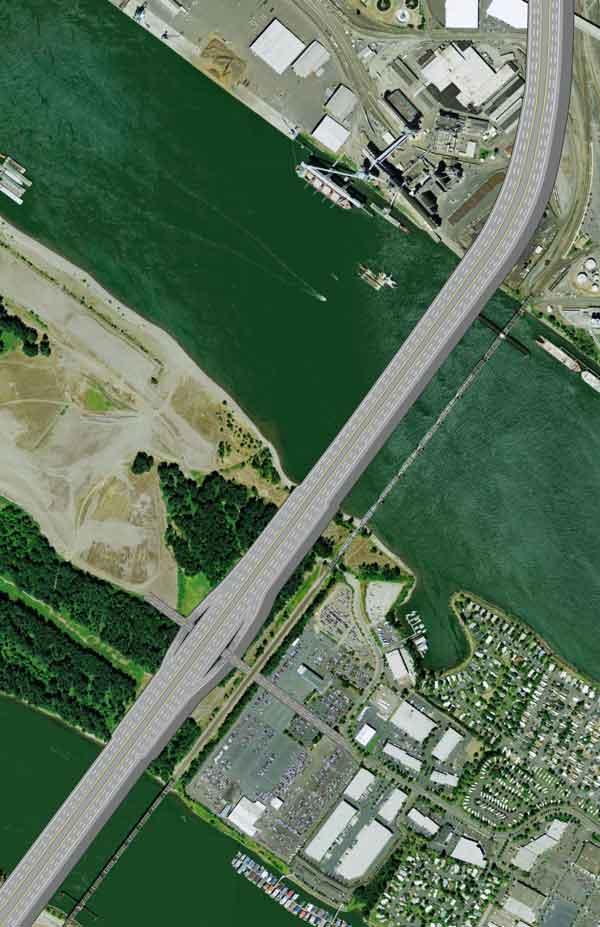 Artist's version of the bridge crossing Hayden Island.