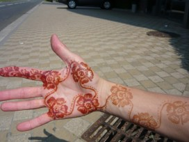 Getting henna in Morocco