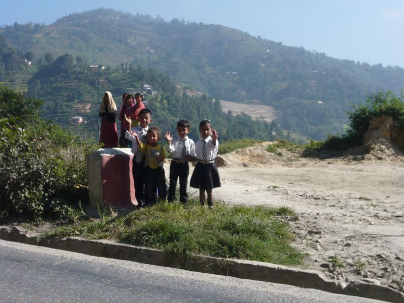 Nepalese children headed to school
