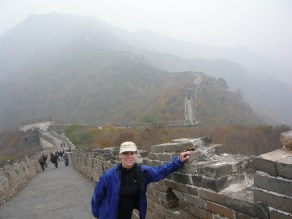 Hiking up to the Great Wall of China