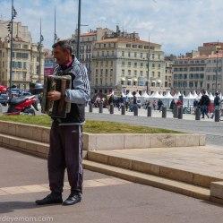 Accordion player along Vieux Port.