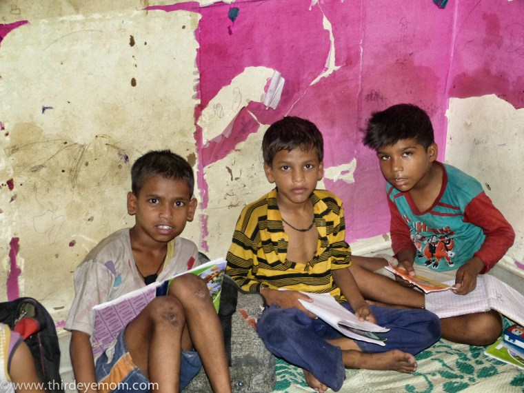 Boys learning in a Delhi school for the children living in the slums.