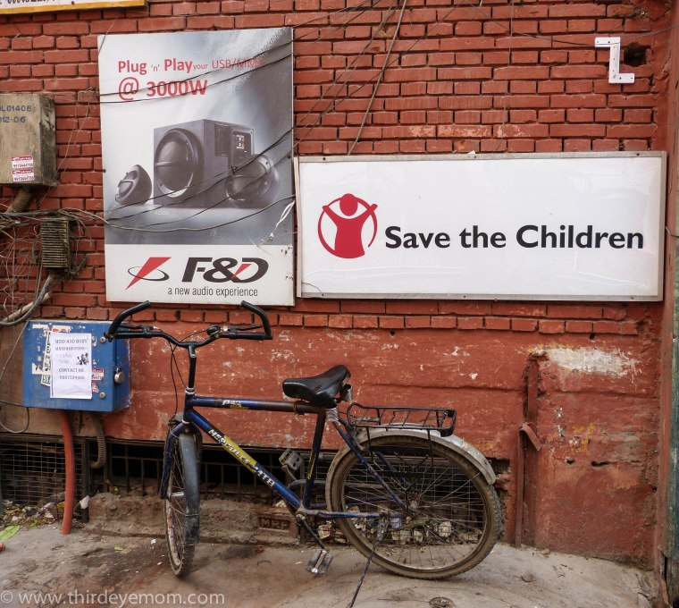 Outside Save the Children's office in Delhi