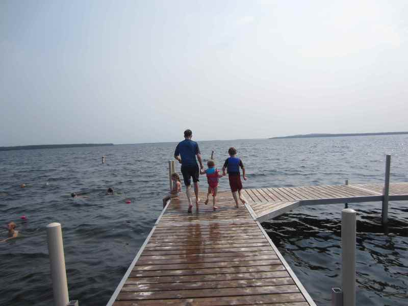 Jumping off the dock at Grand View Lodge