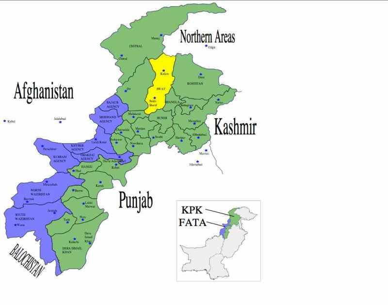 Map of Pakistan with SWAT Valley in Yellow. Photo source: WIkipedia Commons