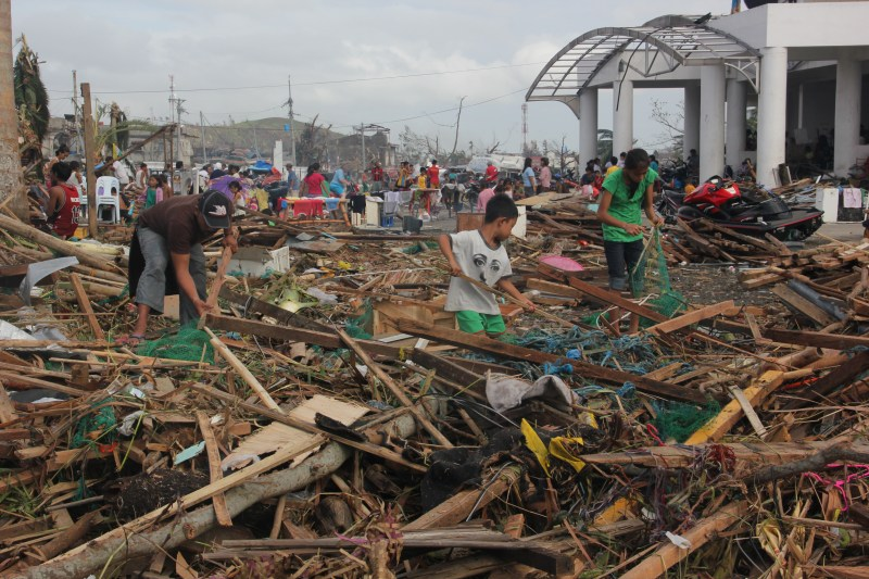 Destruction, distress and death in Destruction and downed power lines in the city of Tacloban. Photo credit: Save the Children
