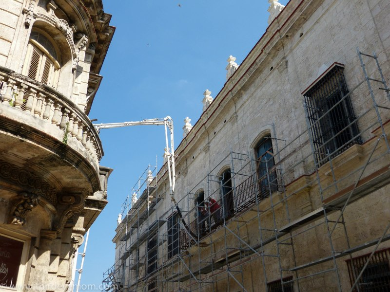 Building renovation in Old Havana Cuba