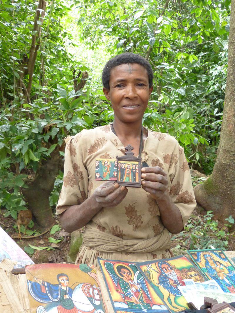 Vendor at island monastery in Bahir Dar