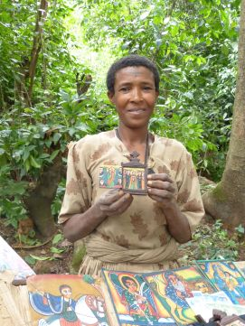Vendor at island monastery in Bahir Dar