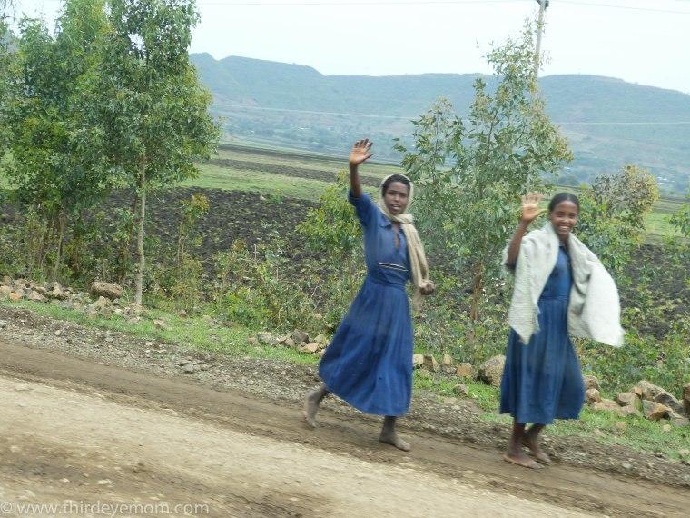 Women waving Ethiopia