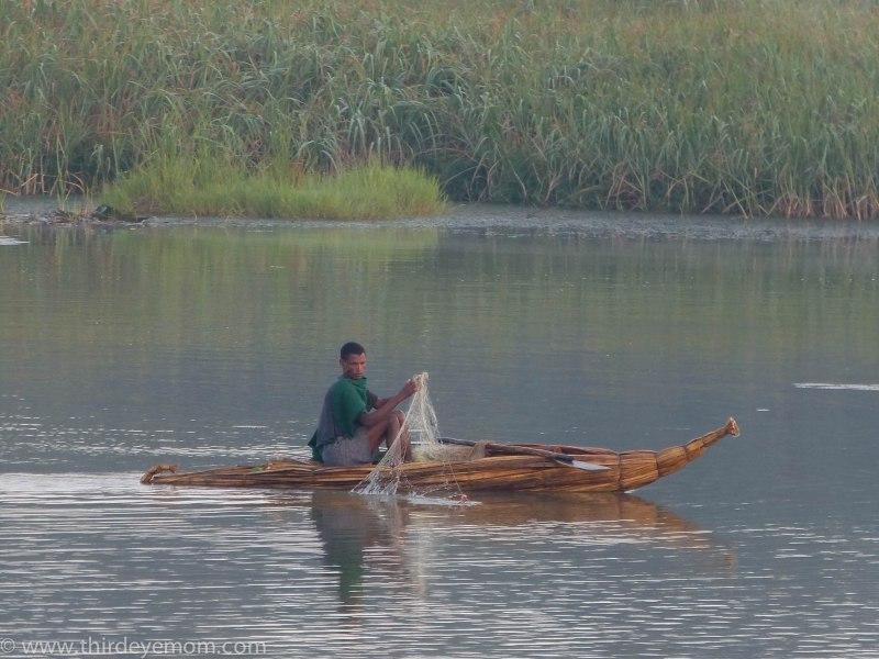 Papyrus boat fisherman on Lake Tana
